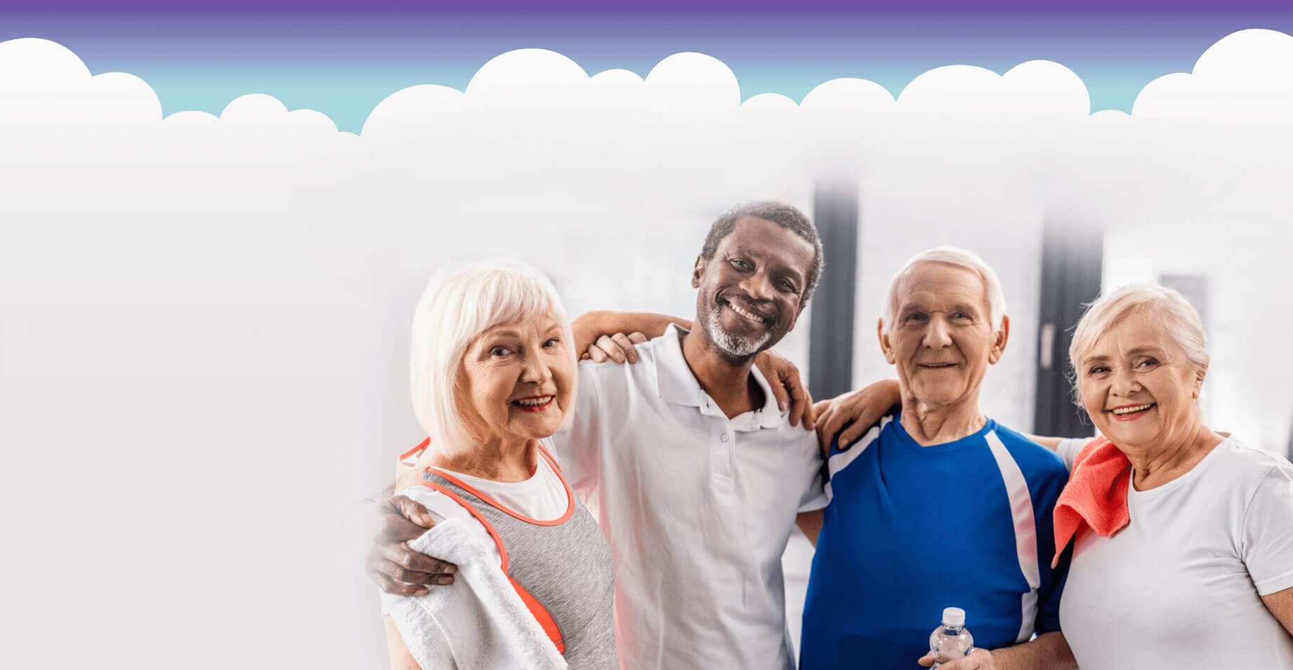 Group of elderly people smiling at the camera