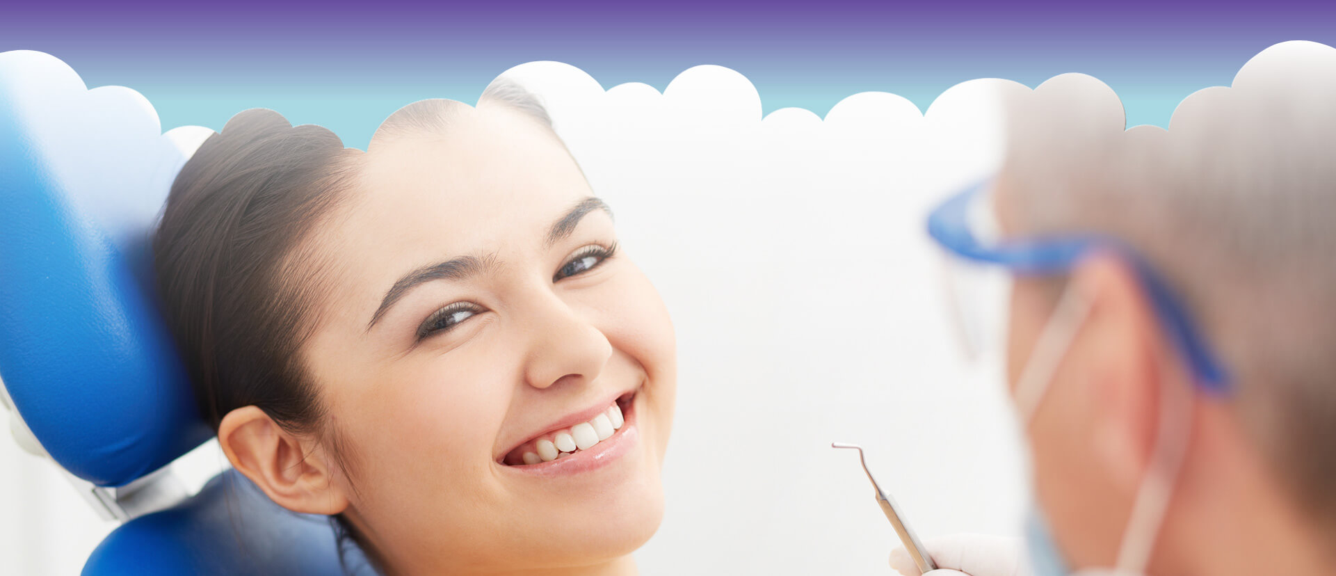 Young woman smiling about to receive dental cleaning treatment