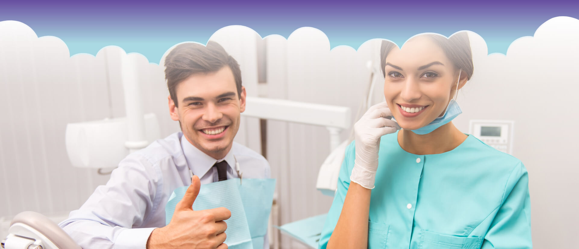 Dental assistant and patient smiling at the camera