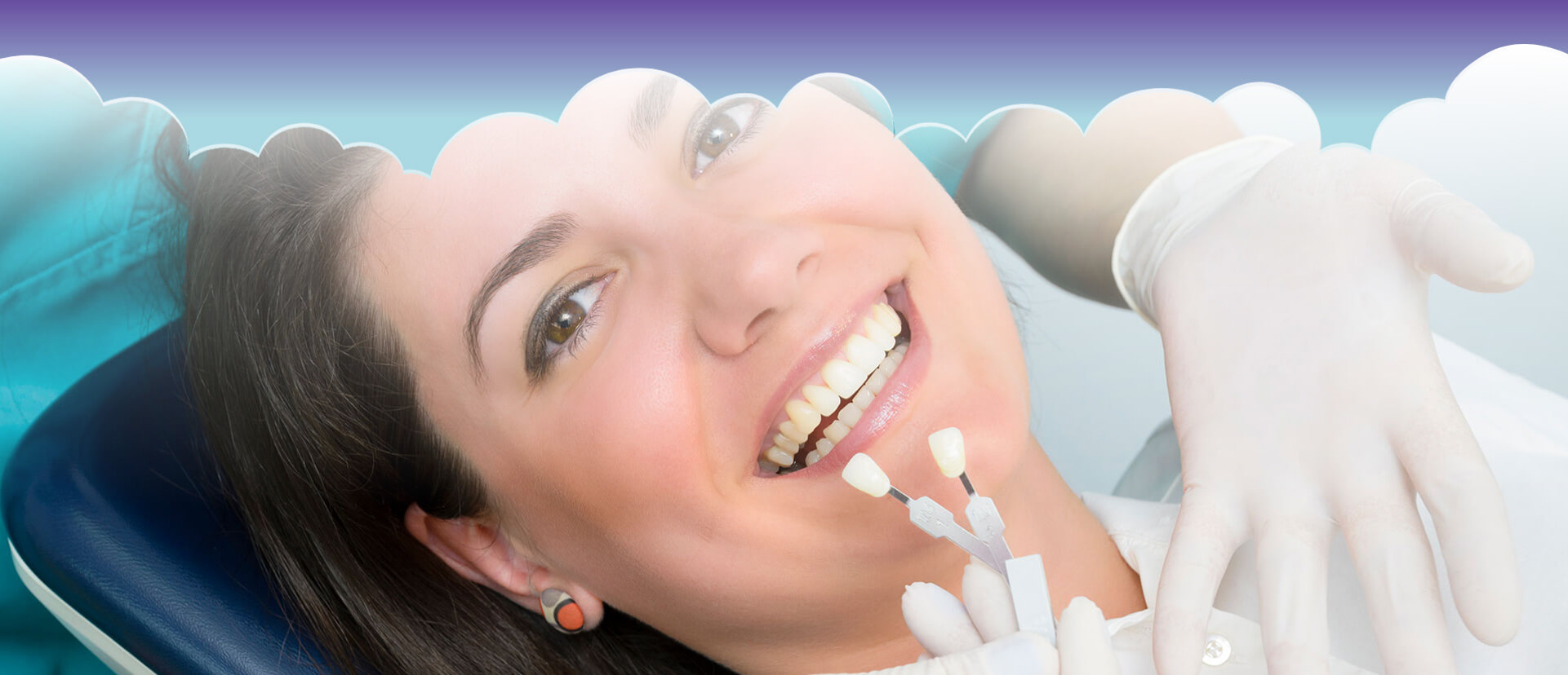 Young smiling female patient getting her teeth compared with porcelain veneers
