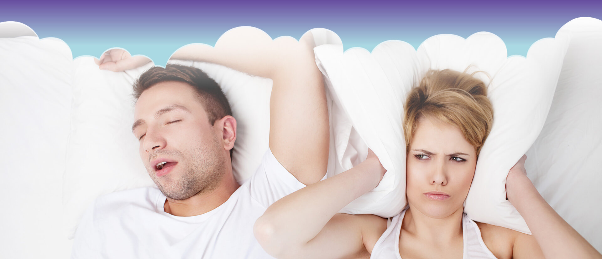 Male snoring while female is disturbed and having a pillow covering her ears